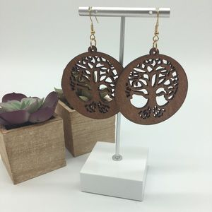 New! Wooden Tree of Life Earrings